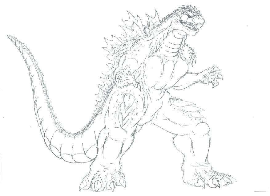 877x637 Godzilla Coloring Pages
