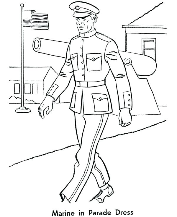 600x734 Marine Coloring Page Marine Coloring Pages Armed Forces Marine