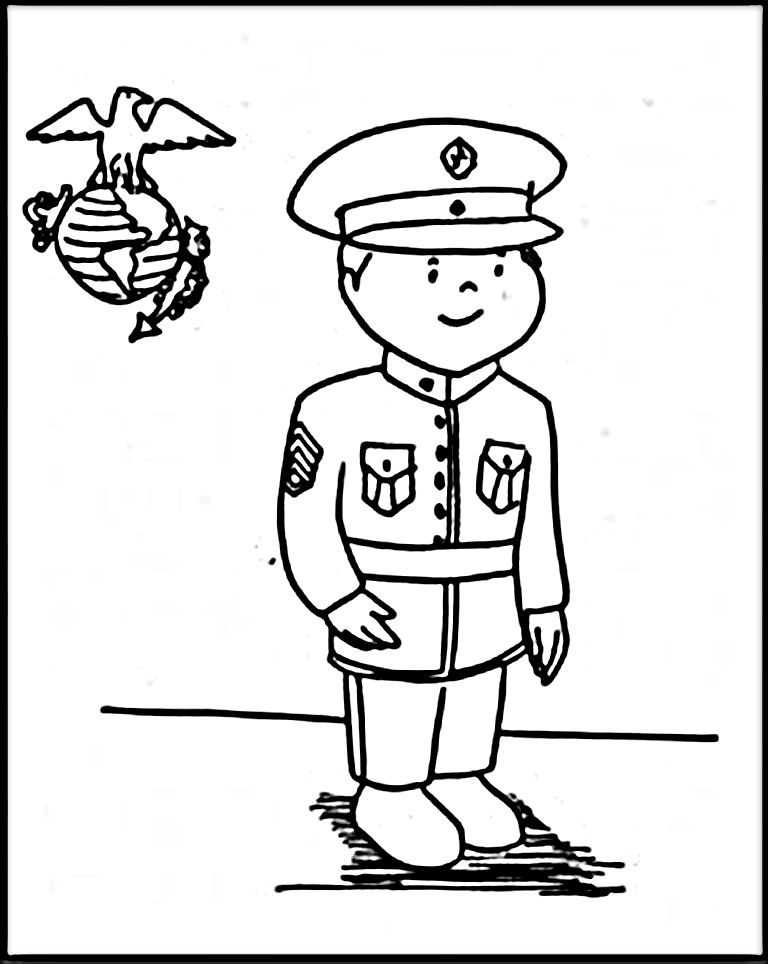 768x964 Marine Corps Coloring Pages