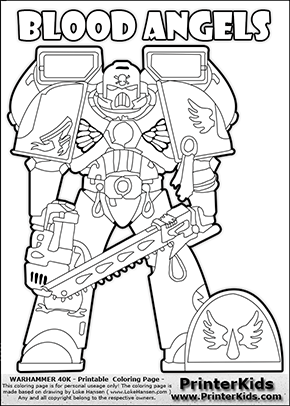 290x406 Coloring Page Showing A High Detail Blood Angels Space Marine