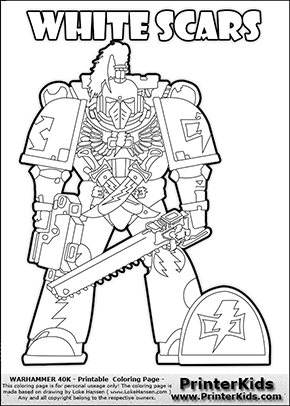 290x406 Coloring Page Showing A High Detail White Scars Space Marine