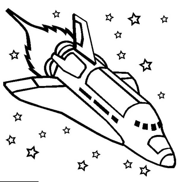 600x612 Challenger Space Shuttle Rocket Ship Coloring Page