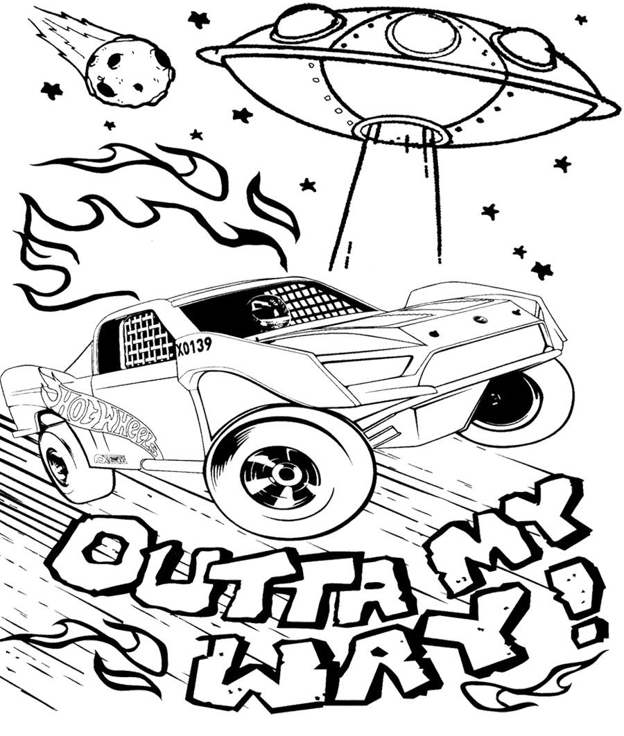 900x1062 Car Hot Wheels And Alien Spacecraft Coloring Page Kids Coloring