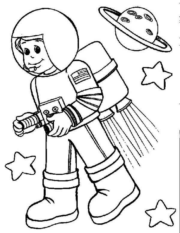 600x778 An Astronaut His Spacecraft Colouring Page An Astronaut