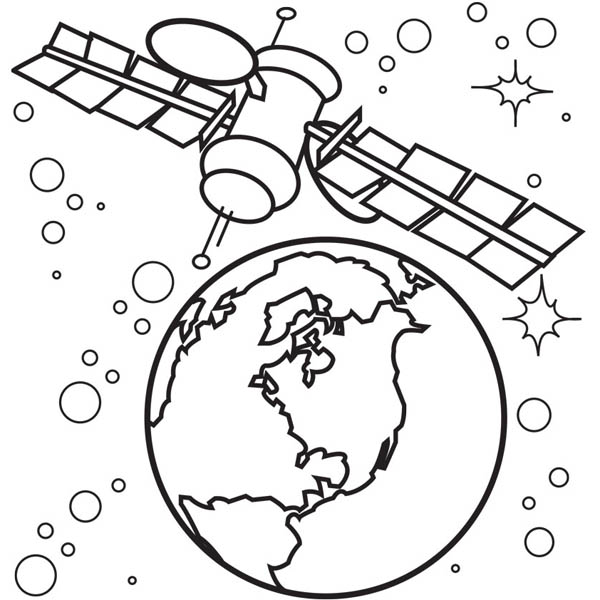 600x600 Satellite Of Spaceship Coloring Page