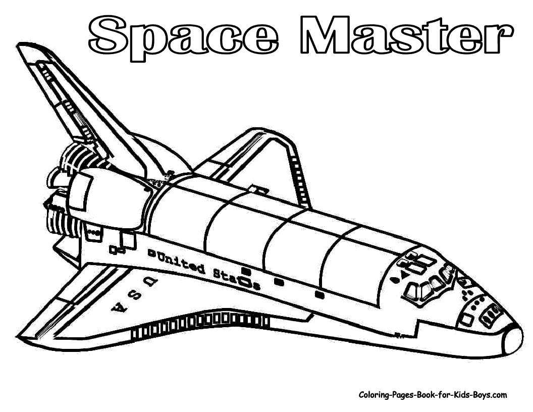 1056x816 Drawn Spaceship Coloring Page