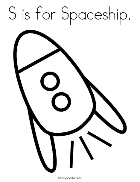 468x605 S Is For Spaceship Coloring Page