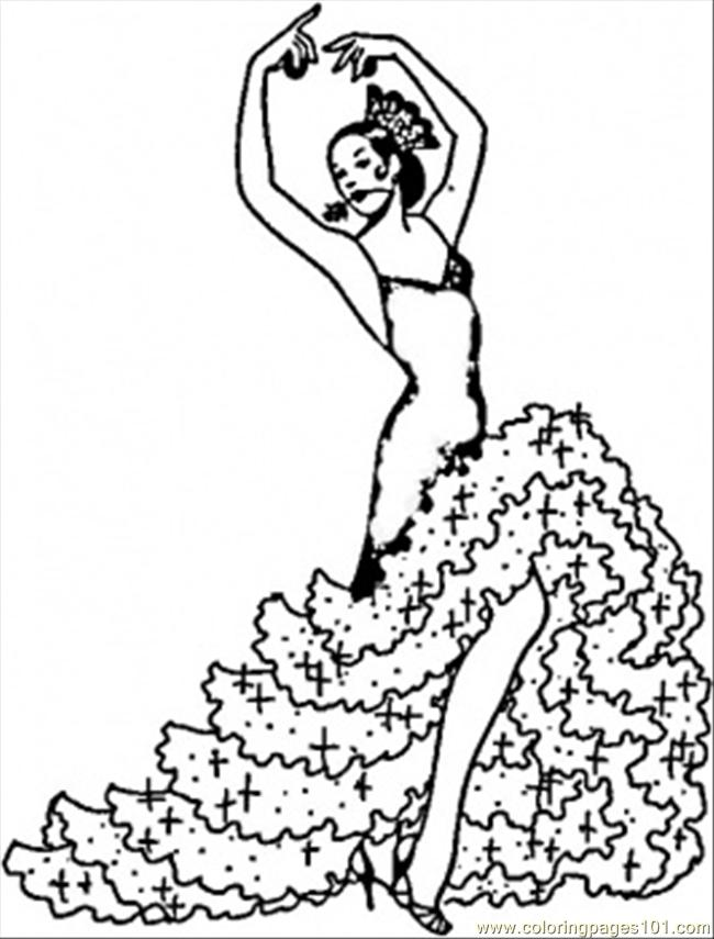 650x855 Flamenco Girl Coloring Page