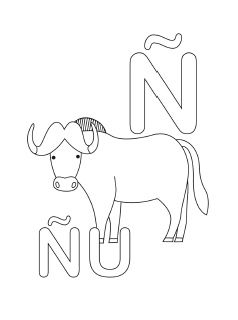 238x320 Spanish Alphabet Coloring Page N Abc Spanish