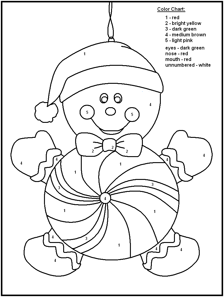 748x989 Christmas Coloring Pages With Color Numbers Color Number Christmas