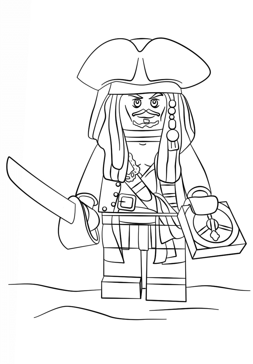 824x1186 Lego Pirate Captain Jack Sparrow Coloring Page