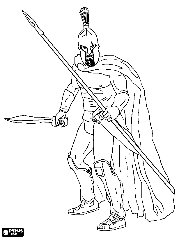 615x820 Greek Spartan Warrior Coloring Pages