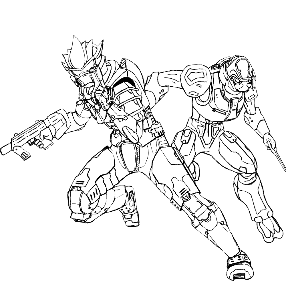 1000x1000 Halo Spartan Coloring Pages With Elite