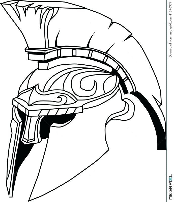 690x800 Spartan Coloring Pages Drawn Warrior Spartan Helmet Pencil