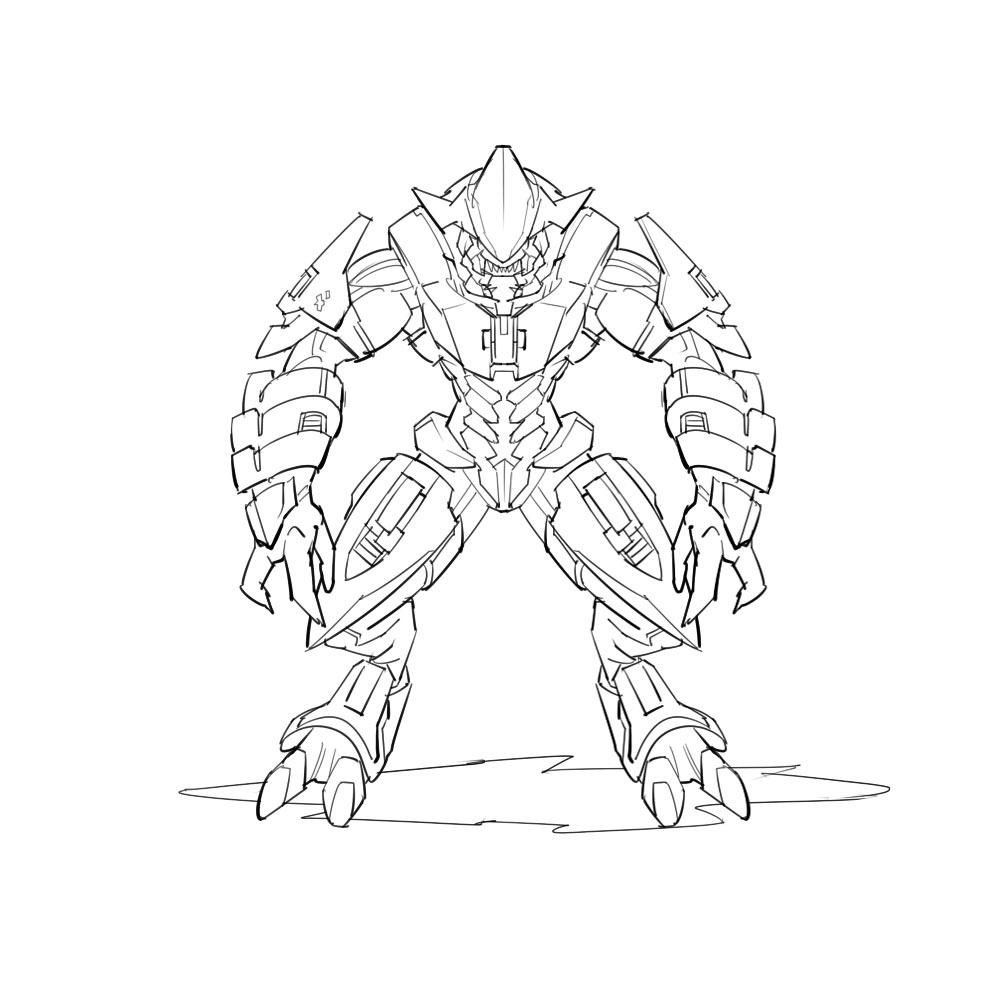 1000x1000 Coloring Pages Halo Master Chief Printable Spartan Superhero Msu