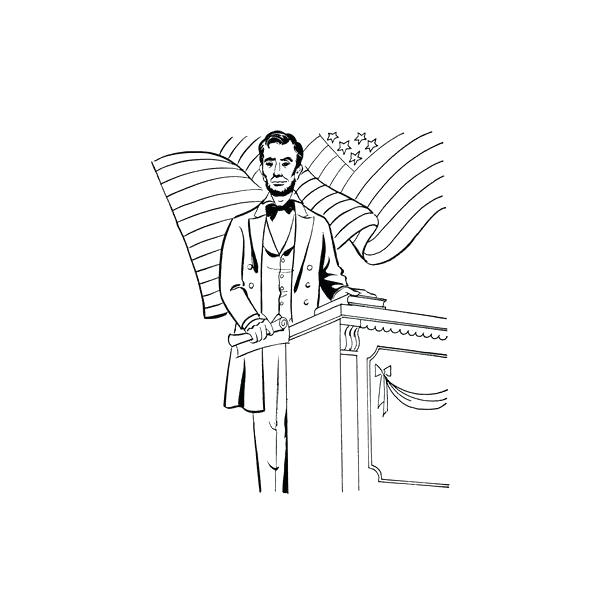 600x600 Abraham Lincoln Coloring Pages Coloring Sheets Giving Speech Abe