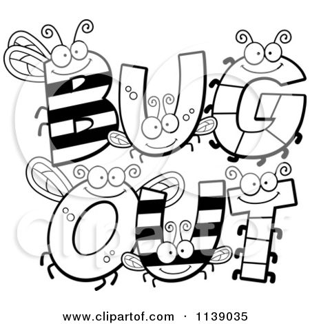 450x470 Cartoon Clipart Of Black And White Bug Letters Spelling Bug Out