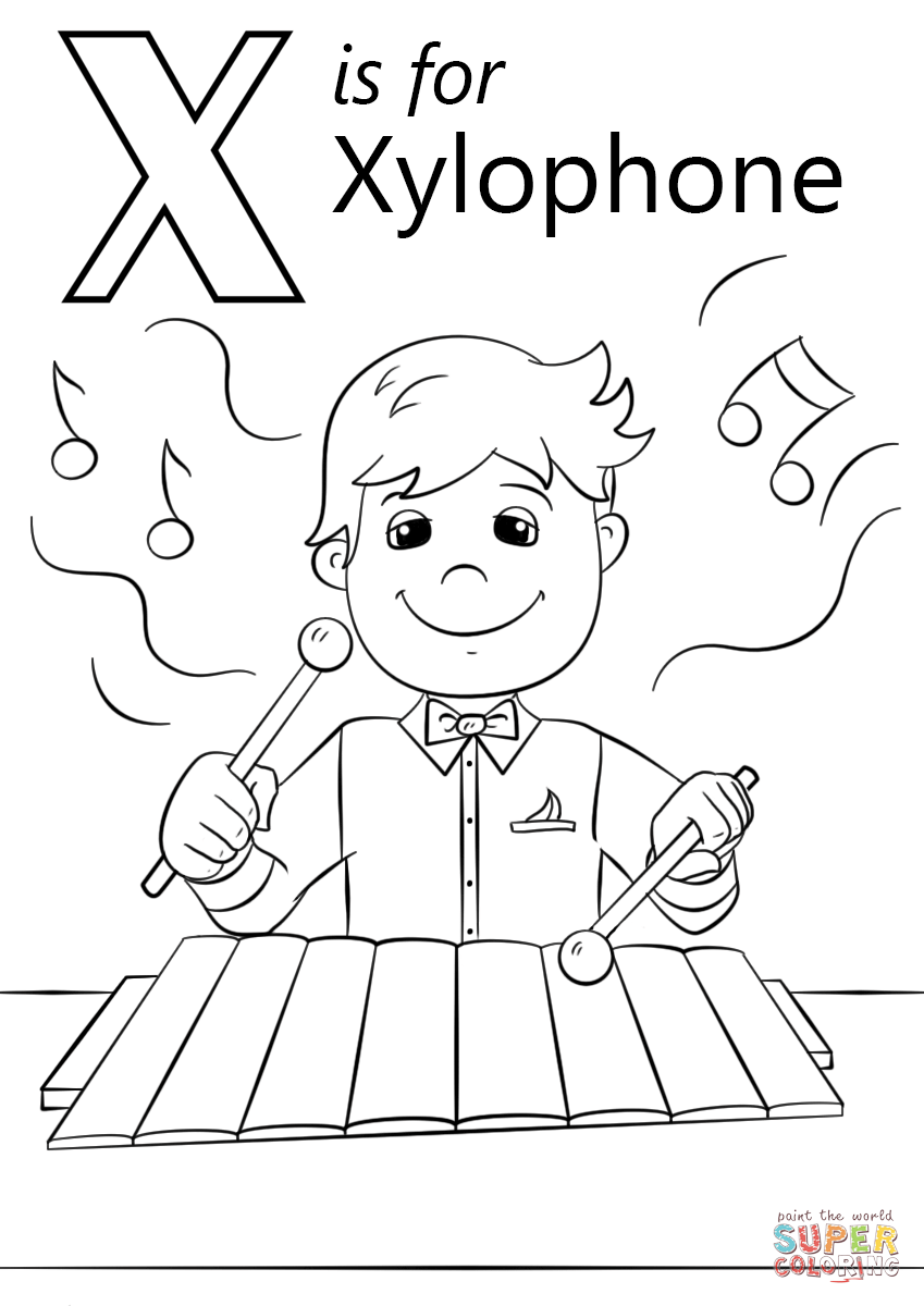 849x1200 Letter X Is For Xylophone Super Coloring W,x,y,z Units