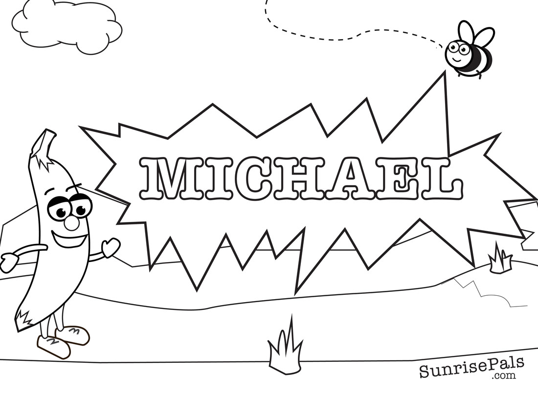 1100x810 Print Coloring Names Michael