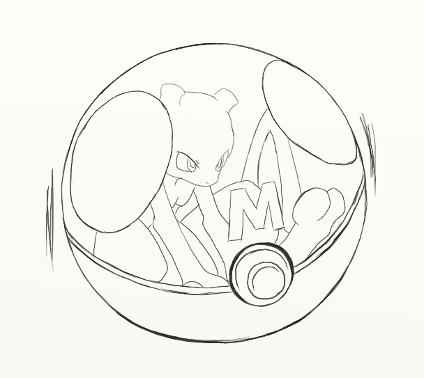 608x543 Mewtwo Master Ball Lineart