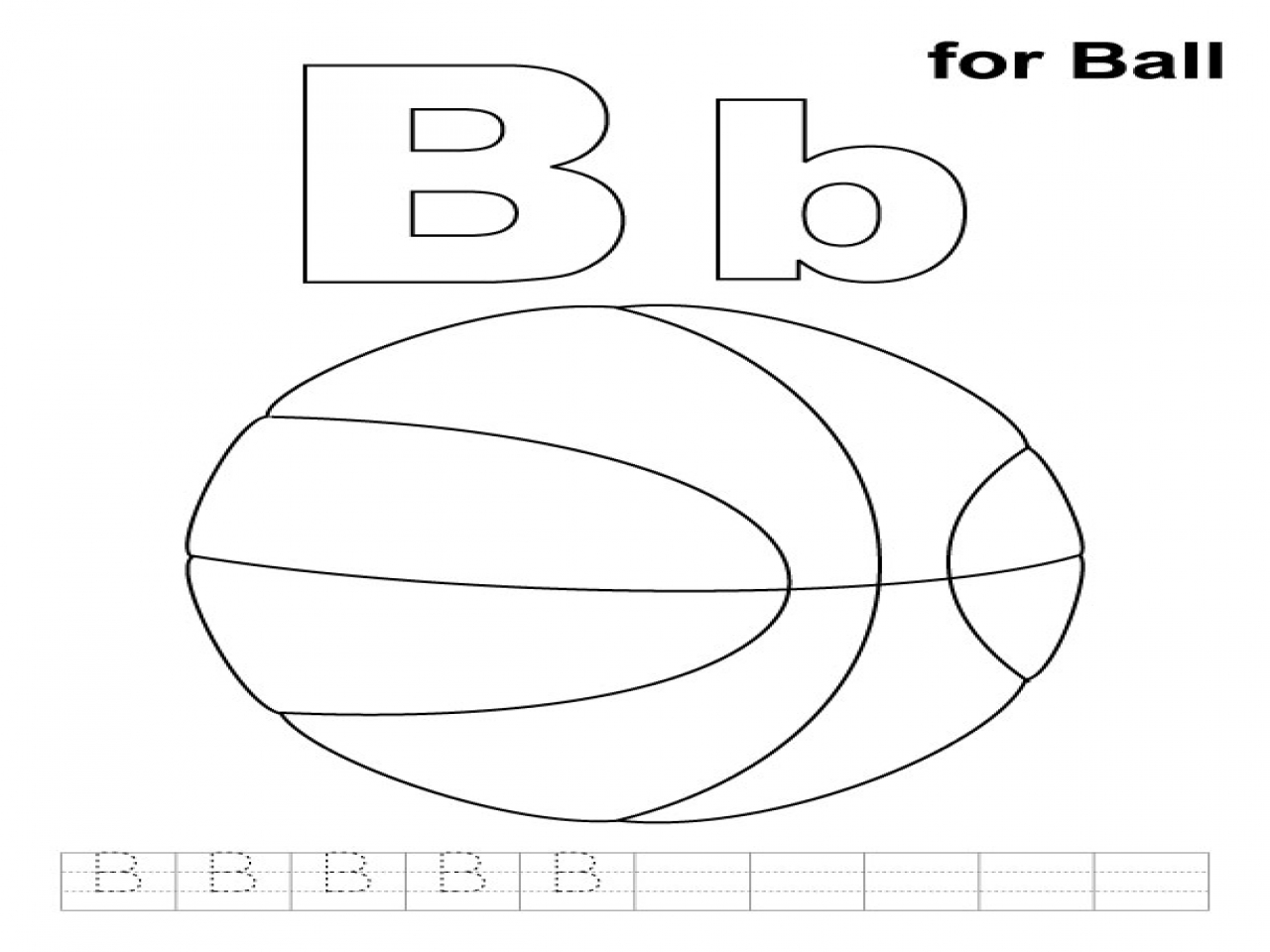 1280x960 B Is For Ball Coloring Page Color Bros
