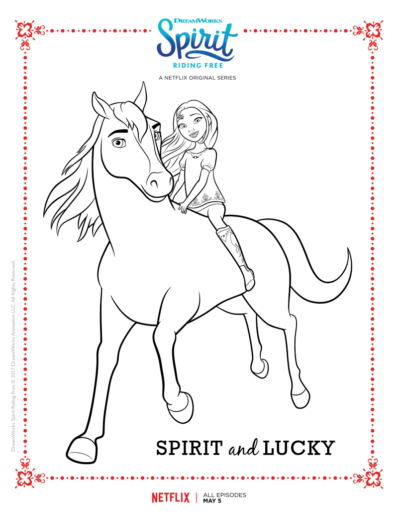 800x1035 Spirit Riding Free Coloring Page Spirit And Lucky