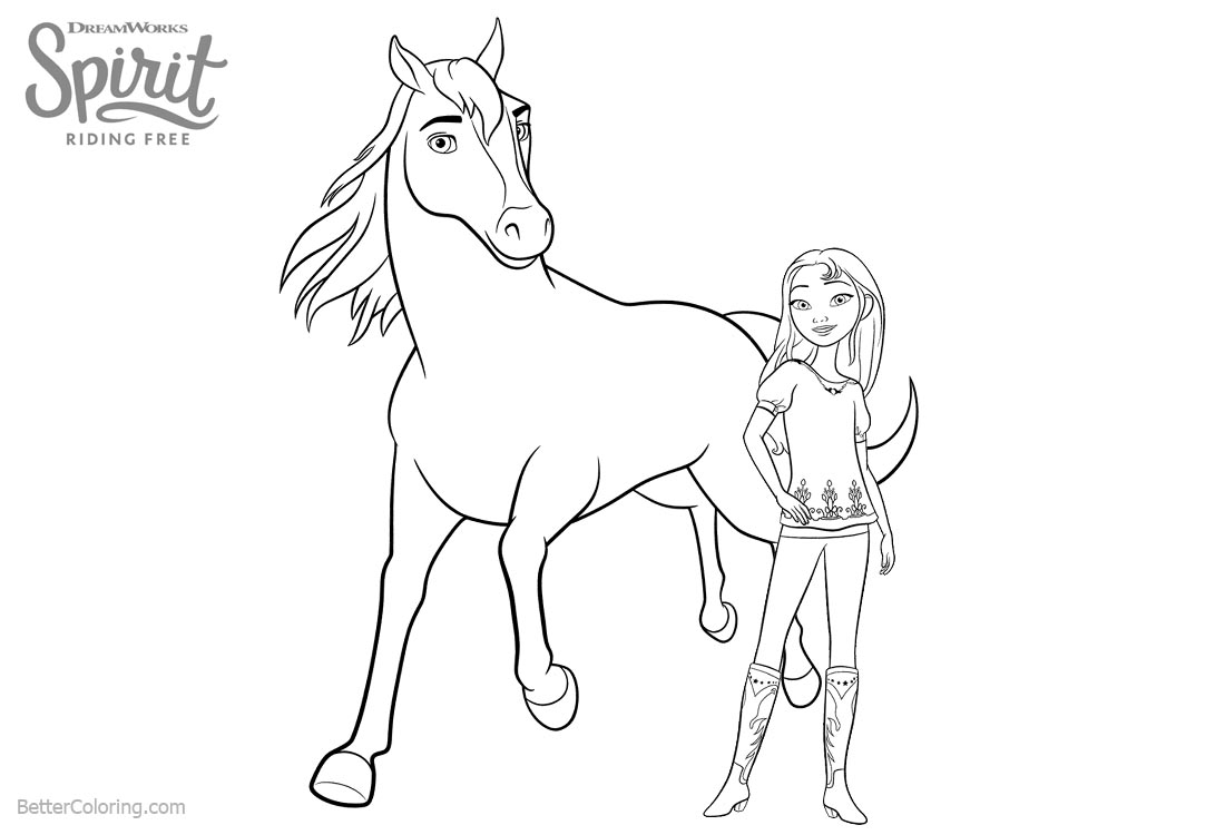 1100x750 spirit riding free coloring pages lucky and horse spirit