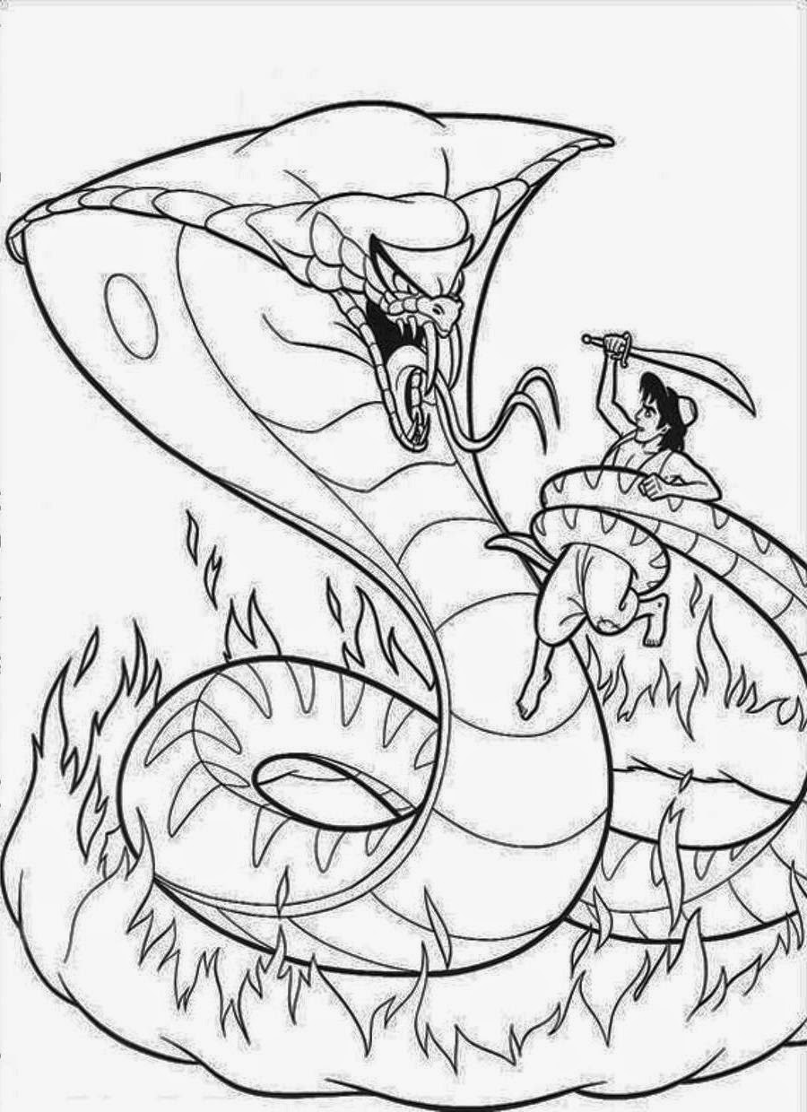 900x1240 Cobra Coloring Pages Aladdin Vs Snake
