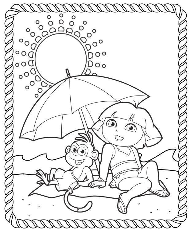 619x749 Dora Summer Coloring Pages Dora The Explorer Printable Coloring