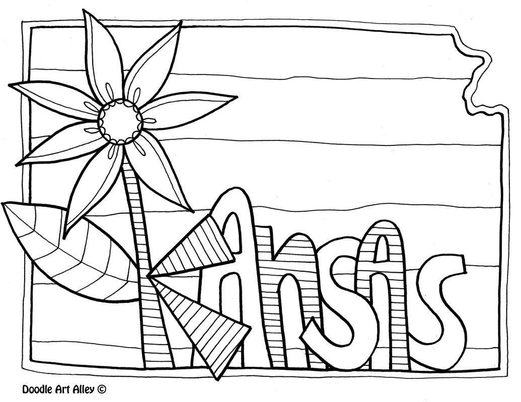 1035x799 Awesome Kansas Coloring Page