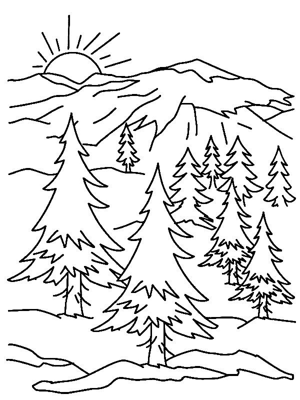 600x800 Mountains Coloring Pages