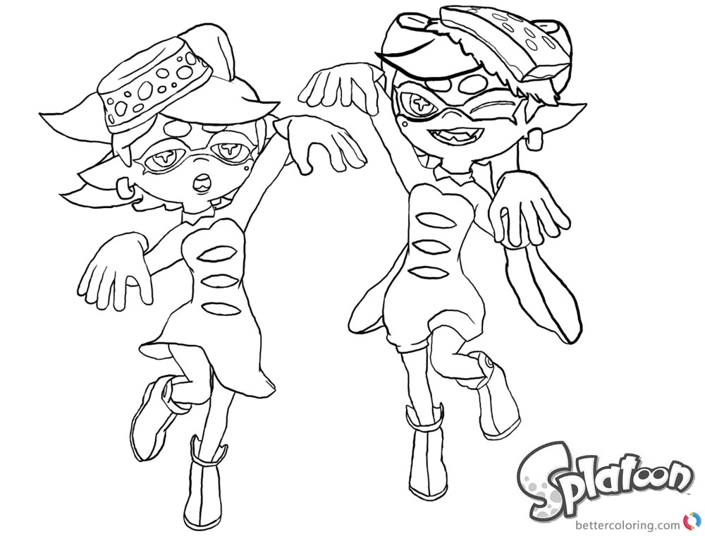 1000x760 Splatoon Coloring Pages Lovely Callie And Marie Lineart