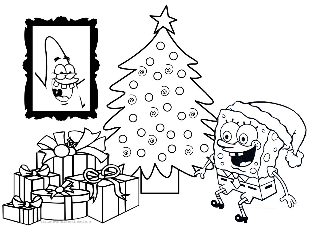 1080x791 Spongebob Christmas Coloring Pages