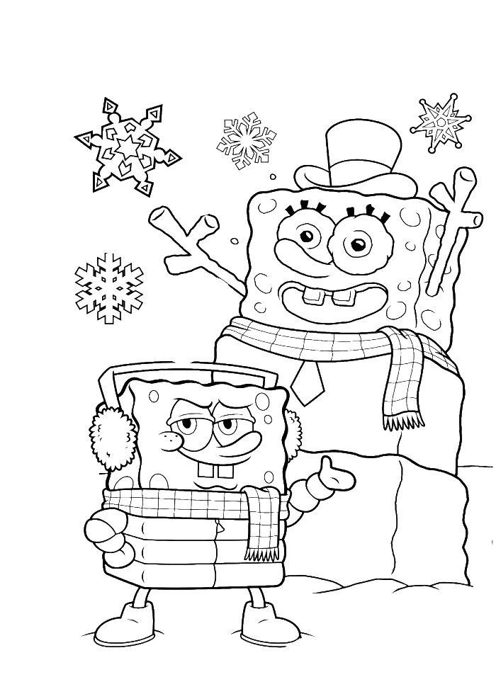 700x956 Free Spongebob Christmas Coloring Pages Drawn Christmas Spongebob