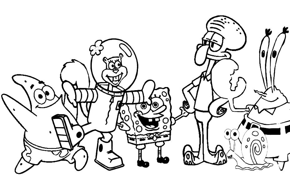 929x564 Interesting Spongebob Characters Coloring Pages Diy Coloring Page