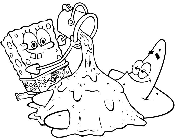 698x555 Spongebob And Patrick Playing With Sand Coloring Page
