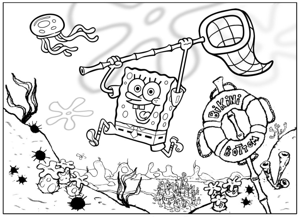 1024x738 Coloring Pages From Spongebob Squarepants Animated Cartoons