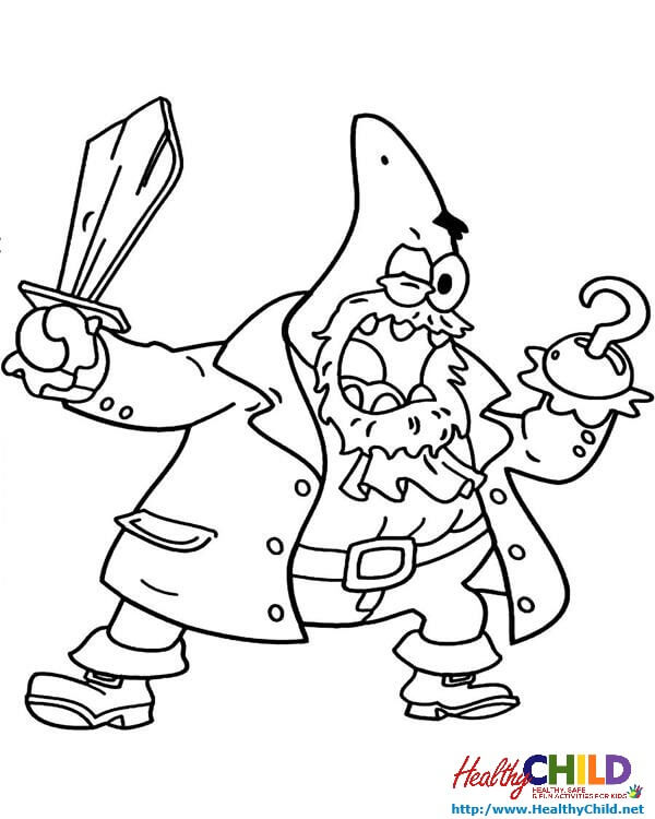 600x750 Patrick Being A Pirate Spongebob Coloring Pages