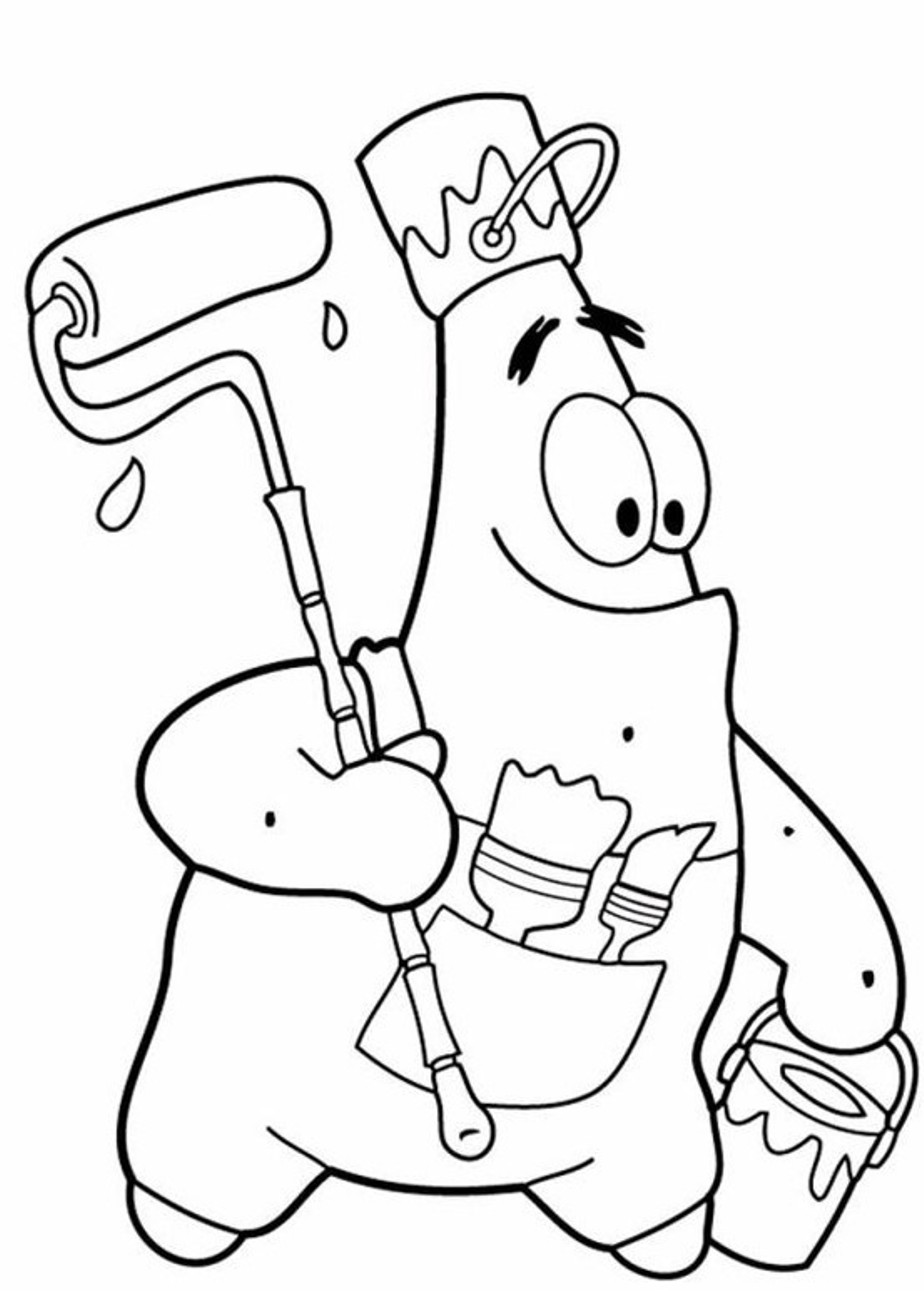 924x1291 Coloring Pages Spongebob Patrick Star Painting Cartoon