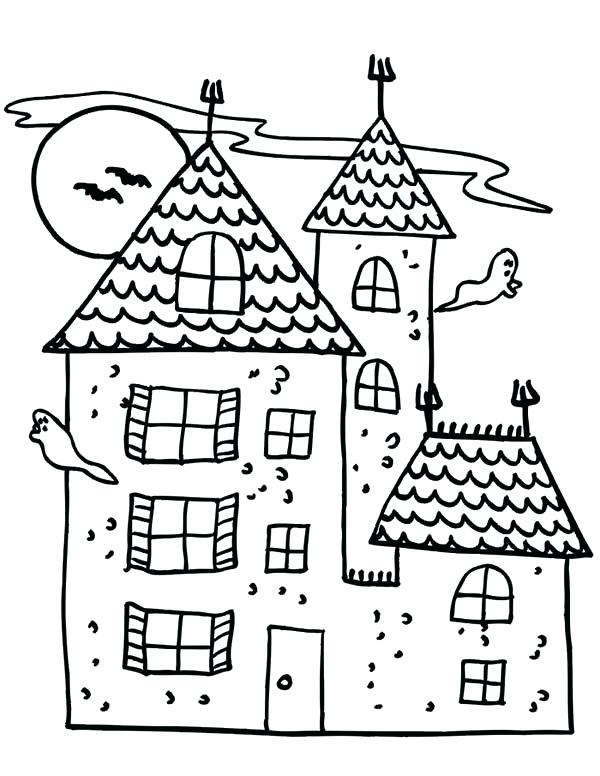 600x776 Haunted House Coloring Page Drawn Haunted House Haunted Castle