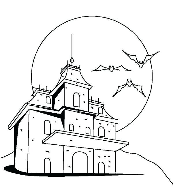600x680 Haunted Mansion Coloring Pages Scary Haunted Castle Coloring Page