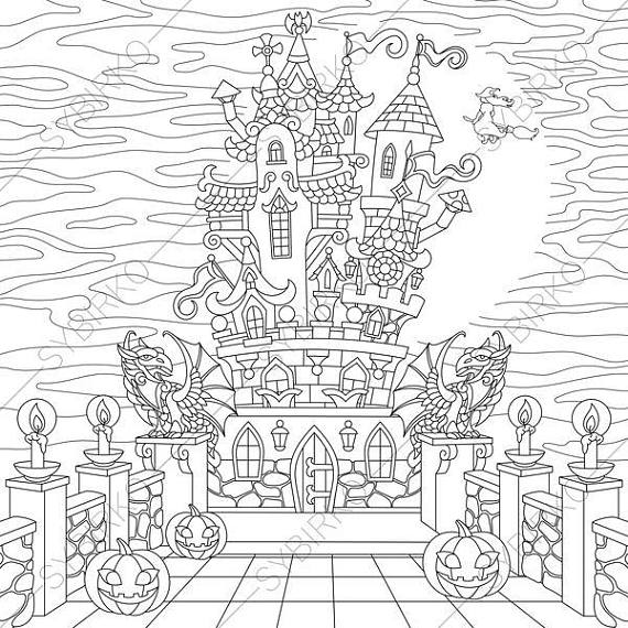 570x570 Halloween Spooky Castle Coloring Pages For Happy Halloween