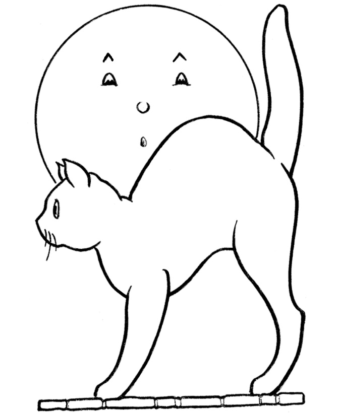 Spooky Cat Coloring Pages