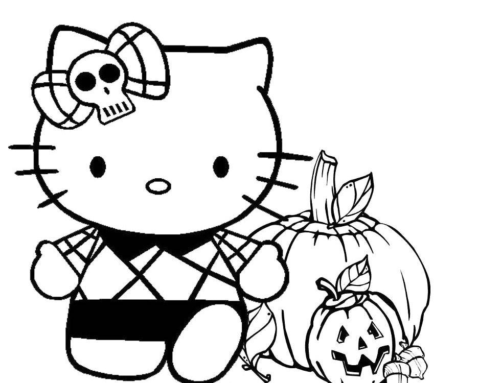 982x750 Hello Kitty Halloween Coloring Pages Hello Kitty Happy Halloween