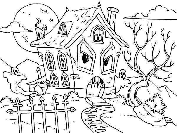 600x450 Pictuure Of Haunted House Coloring Page Pictuure Of Haunted House