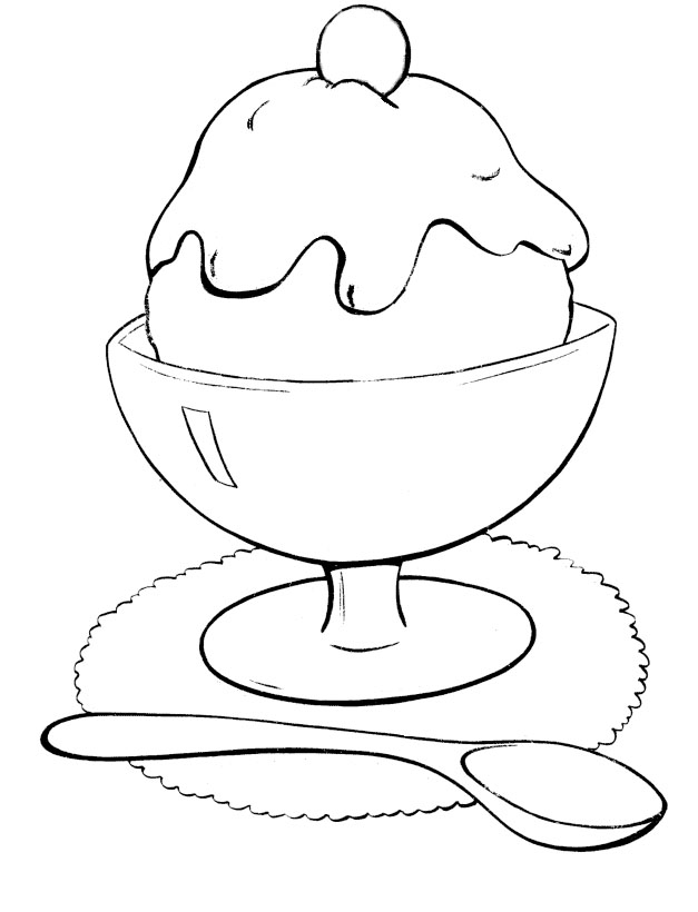 627x820 Ice Cream Bowl And Spoon Coloring Page