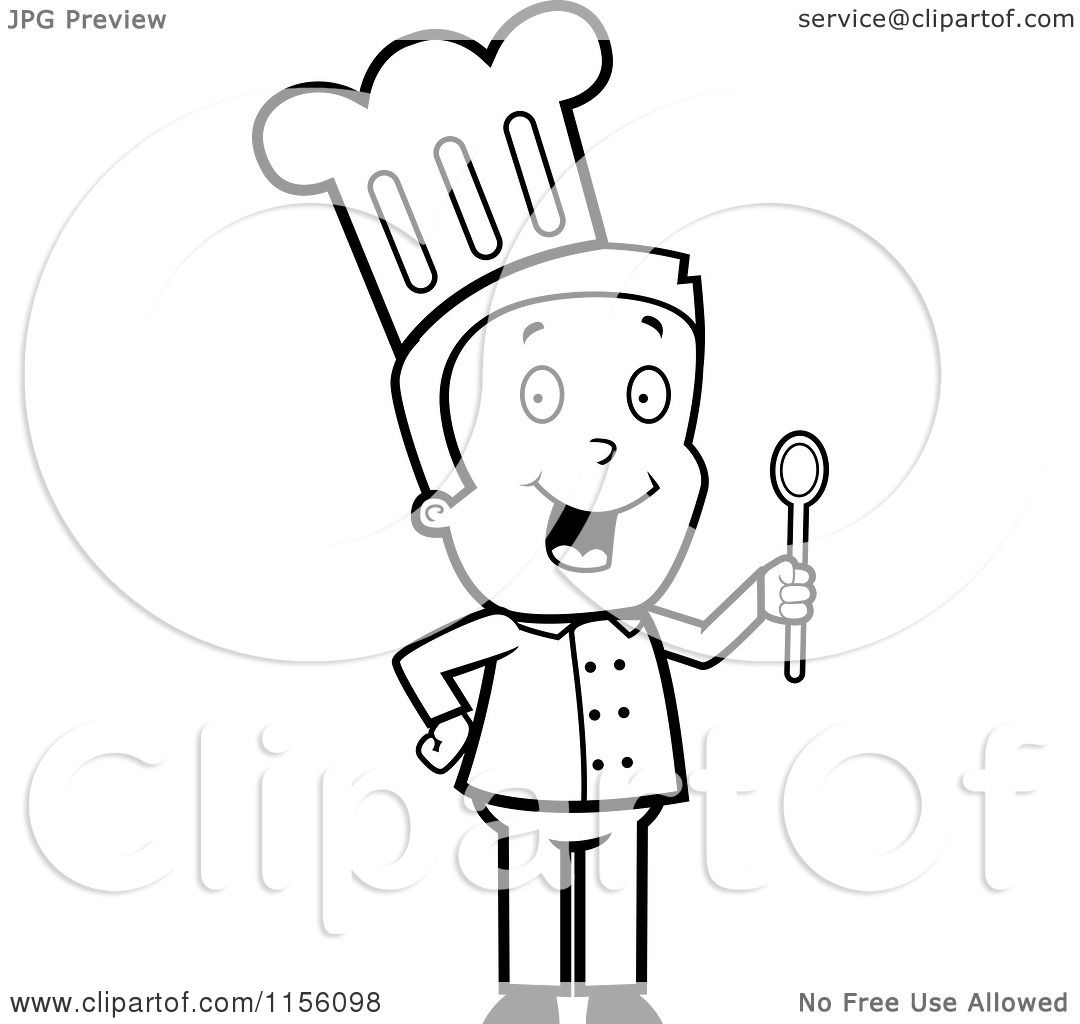 1080x1024 Cartoon Clipart Of A Black And White Toon Guy Chef Character