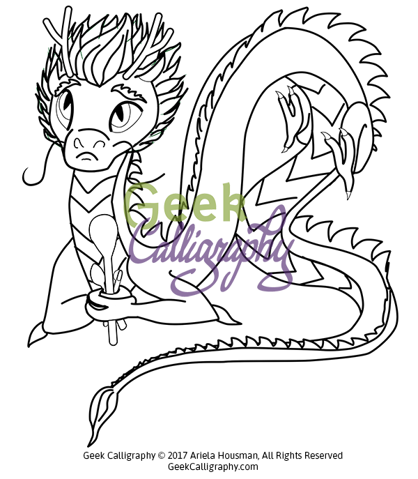 600x687 Spoon Dragon Coloring Page Geek Calligraphy