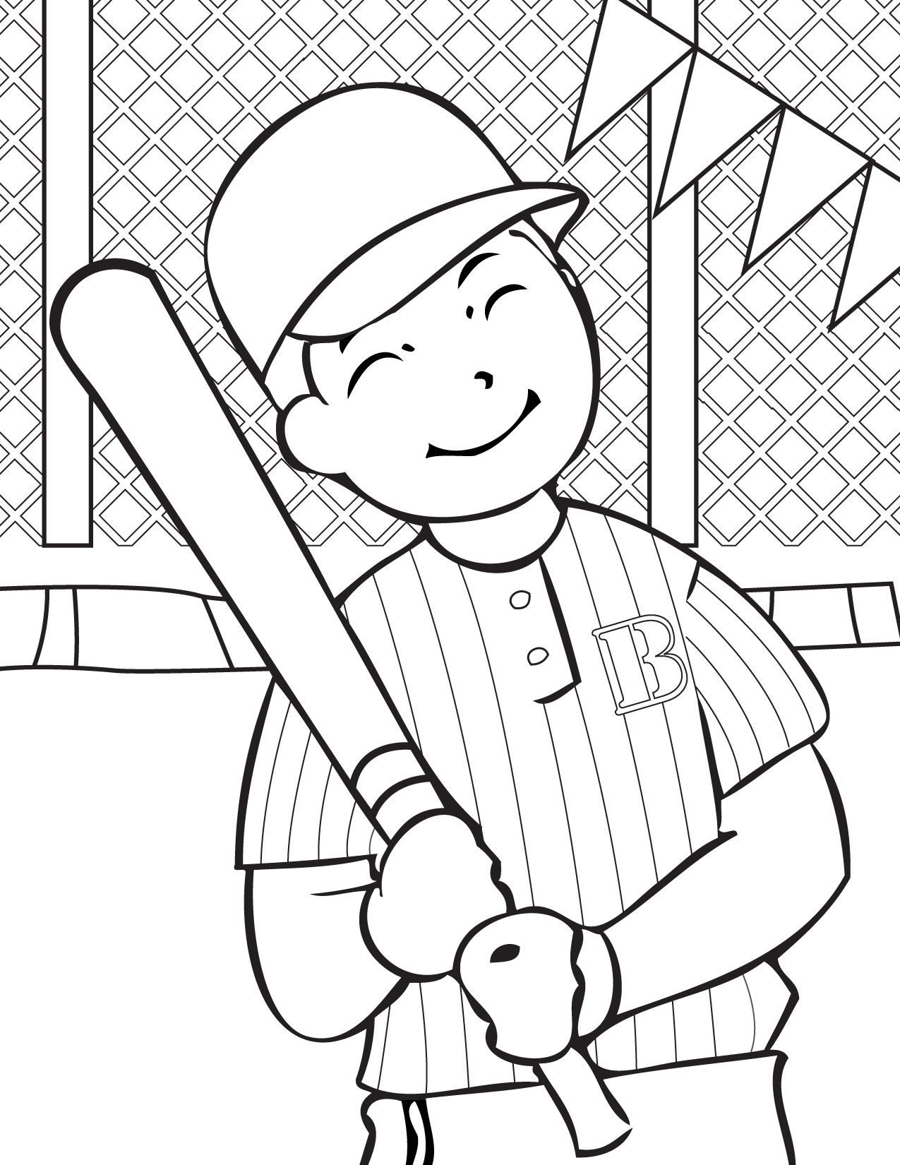 1275x1650 Cute Baseball Player Free Coloring Page Kids, Sports Coloring Pages