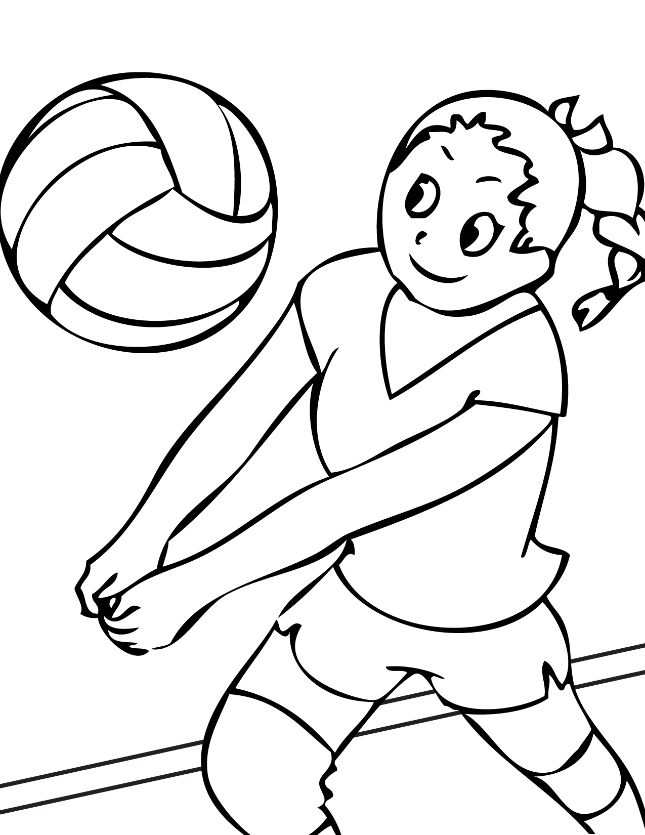 1275x1650 Volleyball Sports Coloring Pages Printable